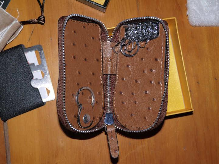 歌洛兹德大容量鸵鸟纹牛皮腰挂情侣汽车钥匙包男士女士多功能钥匙扣礼盒 1018棕色 晒单图