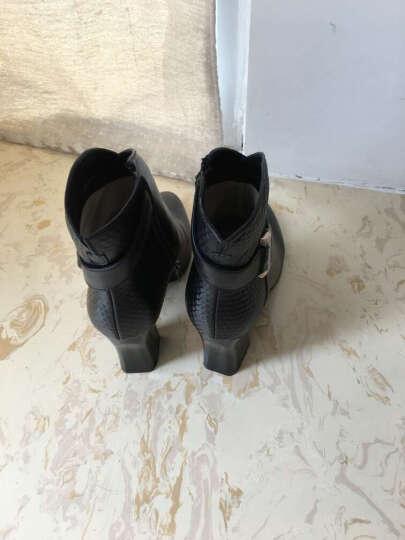 足颜冬季高跟鞋女短靴粗跟尖头真皮短筒显瘦百搭红色马丁靴大小码欧美中女靴子春秋单靴 米白色绒里 37 晒单图