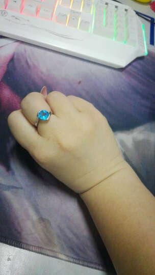 goodland 天然托帕石戒指女款925纯银镶嵌水晶彩宝指环圆形时尚百搭款 生日礼物 天然托帕石(瑞士蓝) 17#(内周长56.2mm) 晒单图