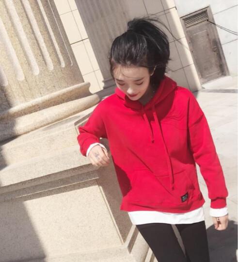 漫优莎卫衣女春季薄款2018卫衣T恤春季新款韩版中长款宽松连帽套头卫衣女显瘦外套假两件长袖上衣潮 黑色 L 110斤-125斤 晒单图