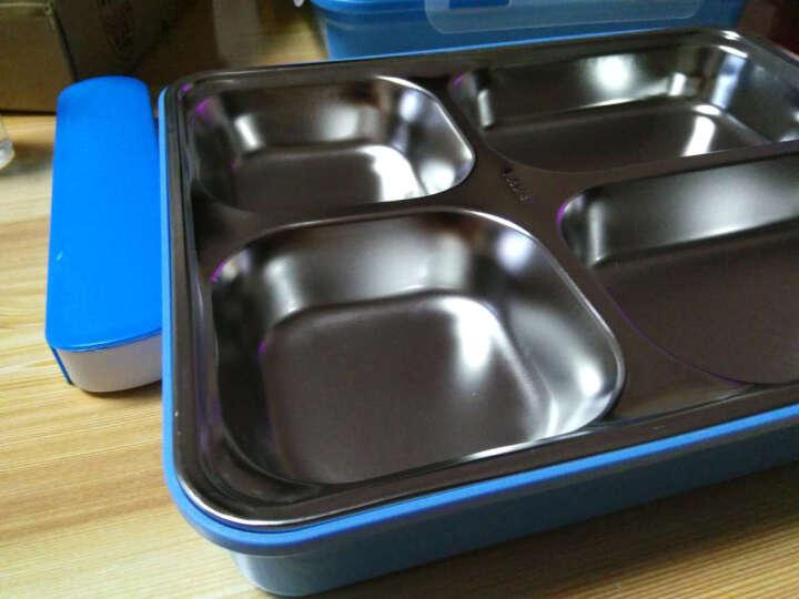 芮家德 大号304不锈钢分格饭盒成人中小学生便当盒分隔餐盘保温密封餐盒 大号粉色+白网格提袋 晒单图