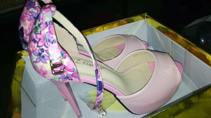 索盼(SUOPAN) 新款高跟鞋 2018春夏细跟浅口尖头职业单鞋女婚鞋911 绣花 黑色 36 晒单图