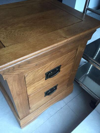 华谊纯实木床头柜美式乡村卧室置物柜白橡木两抽柜 仿古色 500*410*600mm 晒单图
