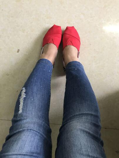 汤姆斯帆布鞋女士夏季新款时尚女鞋一脚蹬懒人鞋子休闲平底学生鞋套脚透气女生单鞋 辣椒红(TM1816W) 36 晒单图