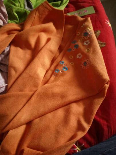 芭芘逸2017秋装新款女毛衣纯色修身刺绣薄针织衫女开衫外套小披肩上衣 桔色 均码80-120 晒单图