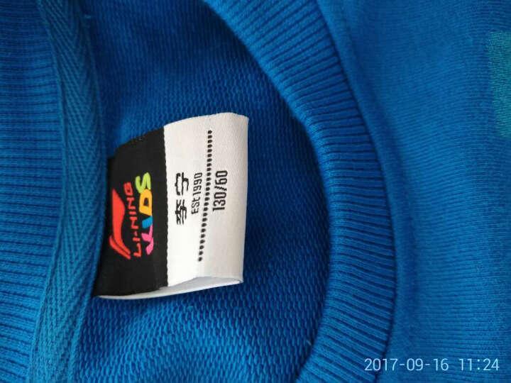李宁童装 新款男童装儿童套头卫衣   中大童长袖上衣 男AWDL577 AWDL577-2极速蓝 130cm/60 晒单图
