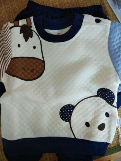 南极人(Nanjiren) 南极人宝宝春秋款夹棉套装婴儿衣服新款儿童卫衣套装 蘑菇娃娃-咖啡色 80cm 晒单图