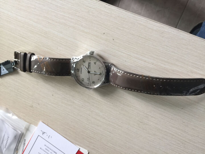荣克士(Junkers)手表 男德国手表包豪斯个性简约时尚商务潮流夜光防水腕表自动机械表 6966-4(银面绿字 夜光 双历 耐刮镜面) 晒单图