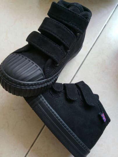蜡笔小新儿童靴子女童靴子新款高帮男童棉鞋反皮绒二棉鞋X-505黑色25 晒单图