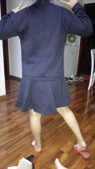 a02商场同款俏皮字母猫荷叶下摆加绒连衣裙 D1R6D0261DR 暗粉红色(118) L 晒单图