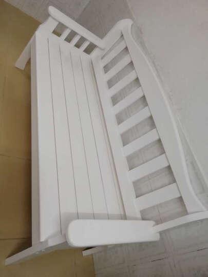 坤欧     实木长椅户外阳台椅休闲椅双人沙发椅田园木质扶手靠背椅椅子 白色 长140宽58坐高40 晒单图