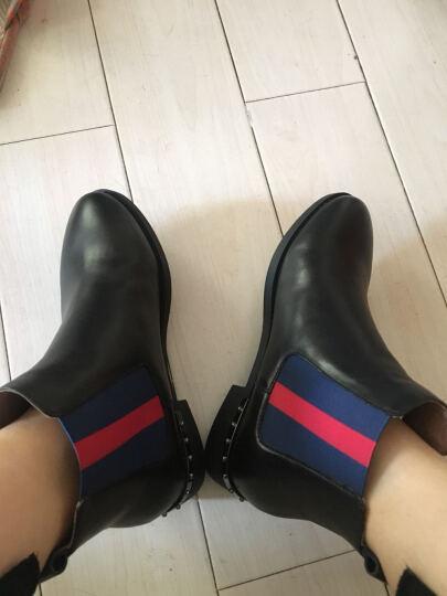 Belle/百丽冬时尚休闲切尔西油皮牛皮女皮靴3C3Y4DD7 绿色 36 晒单图