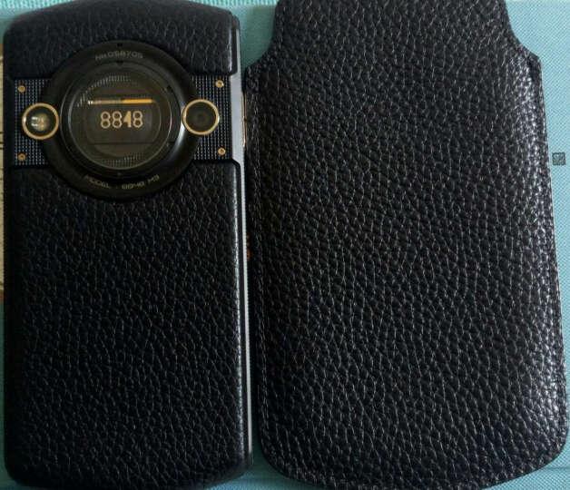 R-JUST 真皮手机套/保护壳/直插皮套滑入式 荔枝纹 商务皮套适用于8848钛金M2/M3手机 黑色滑入式 晒单图