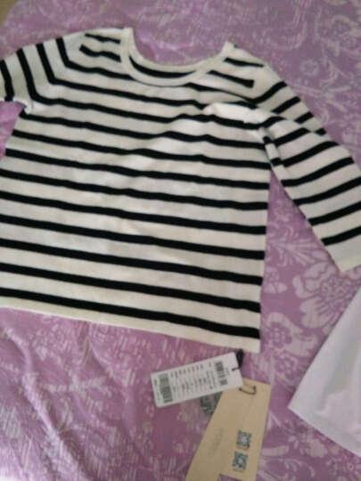 娇鼎春秋装长袖女t恤纯棉白色钉珠打底衫韩版专柜新款印花针织衫DJECC03 白色 L-165/88A-4码 晒单图