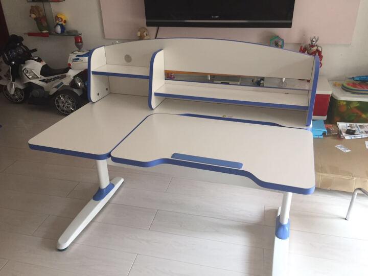 护眼博士 儿童学习桌椅套装钢木复合可升降带书架写字台可调节学生书桌Y-1200B Y1200+B100蓝 色 晒单图