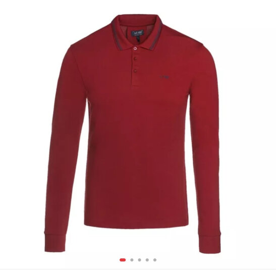 ARMANI JEANS阿玛尼男士深红色棉质长袖POLO衫8N6F366JPTZ 1496 M码 晒单图