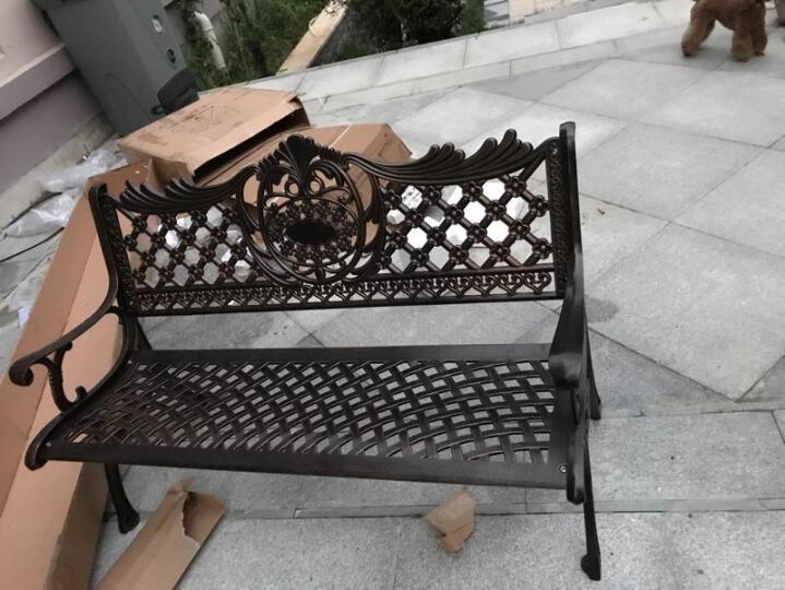 忧郡特 公园座椅 户外公园椅户外休闲长椅室外椅户外排椅铸铝公园椅公园休息椅长凳子防腐公长椅 双人位公园椅/麻白色 晒单图