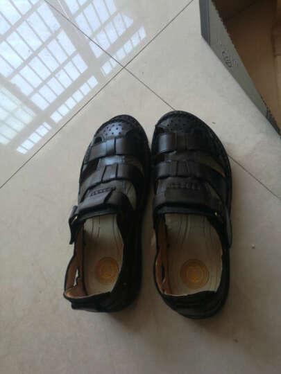 英国[BCS]邦楚仕2019新款凉鞋 男士夏季真皮包头户外沙滩鞋牛皮凉鞋男 13669-1黑色 41 晒单图
