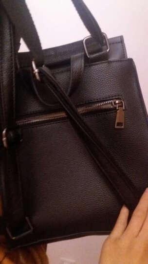 VANDEE多功能牛皮双肩包女2021新款韩版百搭潮 简约软皮复古防盗大背包 黑色 晒单图