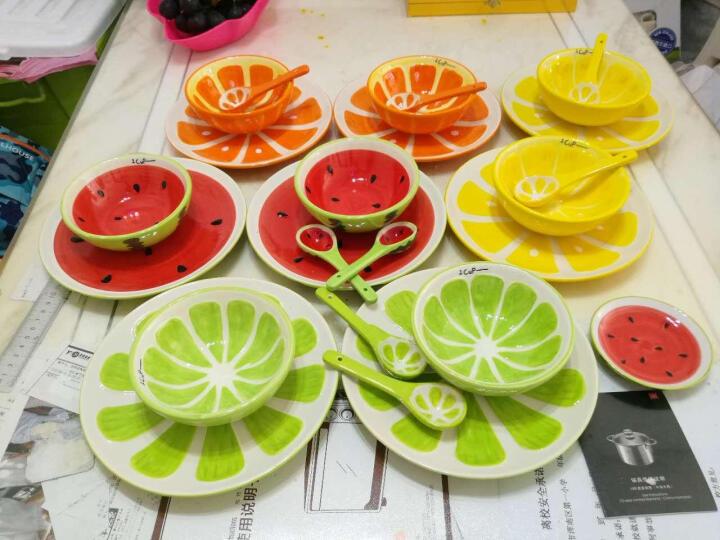 瓷物语 手绘水果餐具套装DIY自由搭配儿童餐具日式碗盘碟釉下彩套碗 西瓜味碟 晒单图