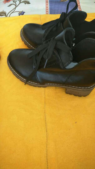 瑞欧短靴女2019秋冬季新款擦色圆头高跟鞋粗跟鞋防水台马丁靴女短靴 灰色 37 晒单图
