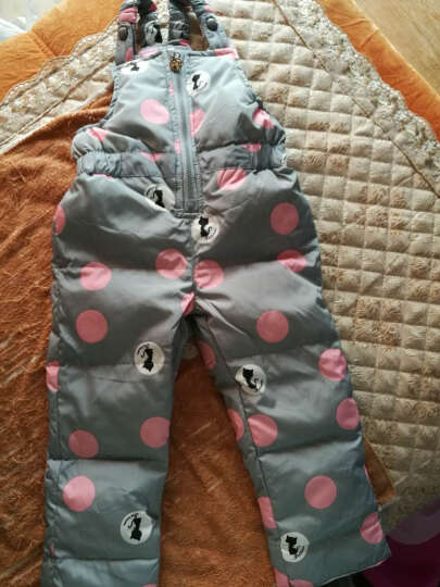 萌宝联盟(mengbaolianmeng) 儿童羽绒服男女童套装加厚婴儿背带裤两件套 深蓝色圆点 90适合1岁半-2岁半 晒单图