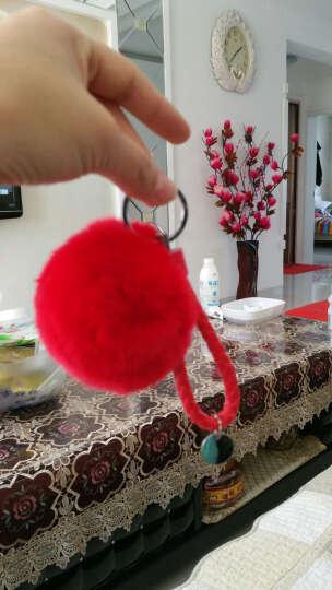 斯丽卡 獭兔毛球钥匙扣车用毛绒挂饰女士编织绳钥匙链钥匙环时尚包挂件 黄色毛球 晒单图