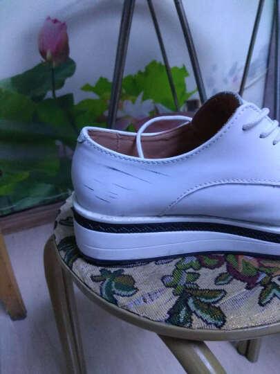 2018春夏牛真皮单鞋女平底浅口工作鞋低跟圆头秀气休闲女鞋AC501 A白色 39支持货到付款 晒单图