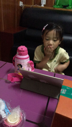 迪士尼(Disney)儿童保温杯带吸管男女学生水杯子304不锈钢水壶粉色公主600ml双盖刺绣杯套 晒单图