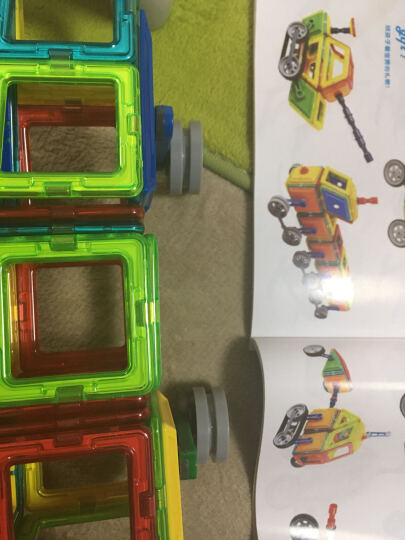 铭塔(MING TA)60件套磁力片 百变提拉建构片儿童积木玩具塑料哒哒搭磁性智力魔磁铁棒 工程系列收纳盒装 晒单图