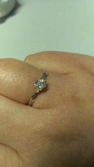 珂兰 钻戒白18K金钻石戒指女订婚求婚钻戒缘爱定制T GIA国际证书-18K金30分F/SI1 晒单图