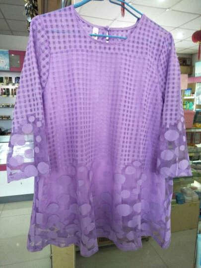 贝娜莉 大码女装雪纺衫2019夏装新款短袖连衣裙女中长款时尚印花喇叭袖蕾丝衫女 A388 紫色 2XL(120-135斤) 晒单图