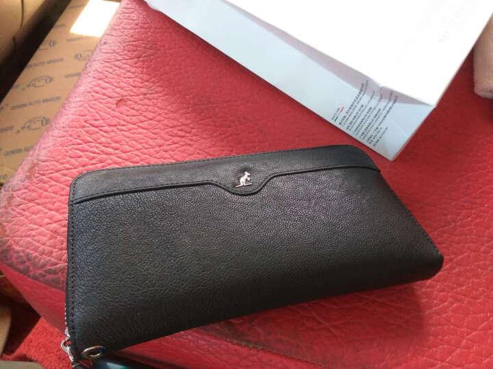 意大利L'ALPINA袋鼠 男士手包头层羊皮 商务手拿包真皮长款时尚手挽男包 礼盒 大容量 黑色 晒单图
