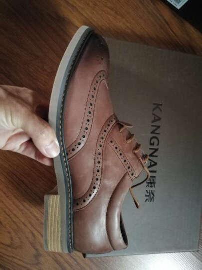 康奈男鞋 男士牛皮英伦布洛克皮鞋真皮商务正装皮鞋 深棕色(休闲商务) 40 晒单图