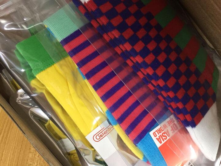 Asianbum撞色多彩方格男士袜子中筒 时尚棉质高弹性运动袜wz男袜 粉蓝色 晒单图