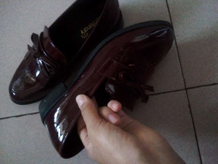 莱卡金顿 单鞋女休闲女鞋子时尚皮鞋低帮学生浅口鞋 酒红色 39 晒单图