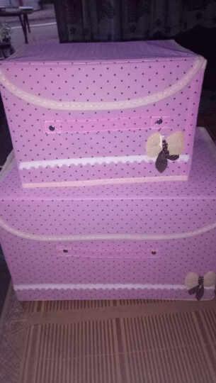 萌碎两件套一大一小袜子内裤内衣收纳盒整理箱大号有盖牛津布艺收纳箱衣物储物箱装衣服的箱子 覆膜紫色圆点 一大一小两件套 晒单图