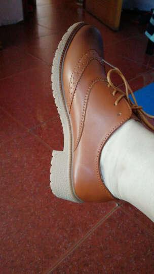 丁娅单鞋女春秋布洛克女鞋粗跟中跟低跟女生学生学院英伦风真皮韩版复古圆头小皮鞋小码大码鞋子 米色 38 晒单图