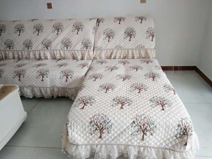【3件7折】仟芊爱家 欧式亚麻沙发垫套装四季沙发套全包布艺沙发罩巾加厚坐垫防滑飘窗 芳华绿-亚麻 90*180cm一块 晒单图