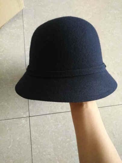 布塔帽子女秋冬季小礼帽羊毛呢帽冬天时装帽蝴蝶结帽子 藏青色 (56cm-58cm) 晒单图