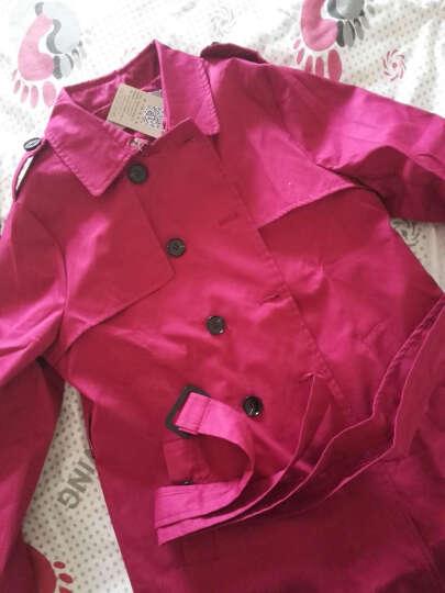 佑琴风衣女中长款2017春秋季新款女装韩版修身时尚纯色女式翻领外套 紫色 XXXXL 晒单图
