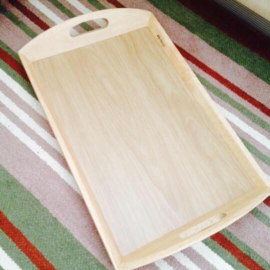 日本凯得宝进口实木橡胶木托盘茶盘水果盘菜盘防水 长方托盘 L # 晒单图