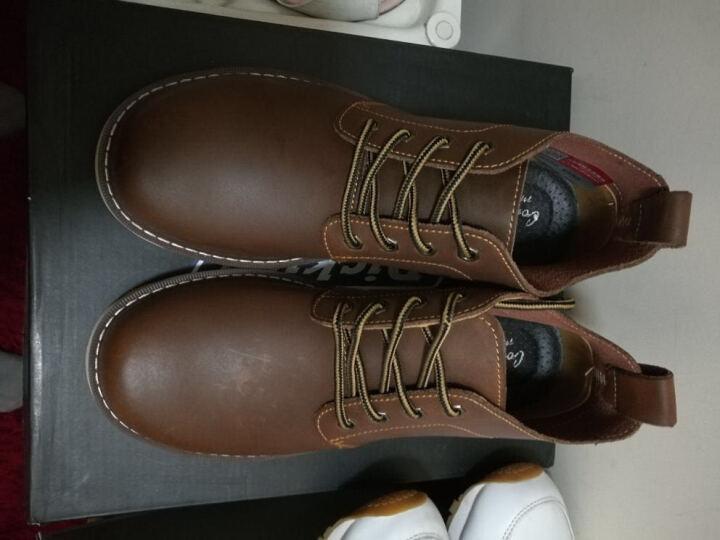 马登 马丁靴男士皮靴工作户外短靴工装鞋大头鞋子男靴真皮靴子 深棕色 38 晒单图