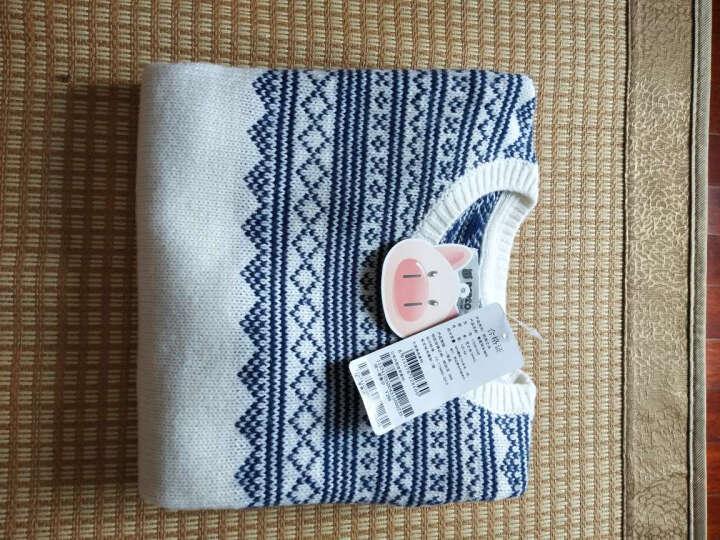 小猪班纳(PEPCO)儿童毛衣 男童圆领休闲套头毛衫中大童长袖毛衣 115341035 芝士白 160 晒单图