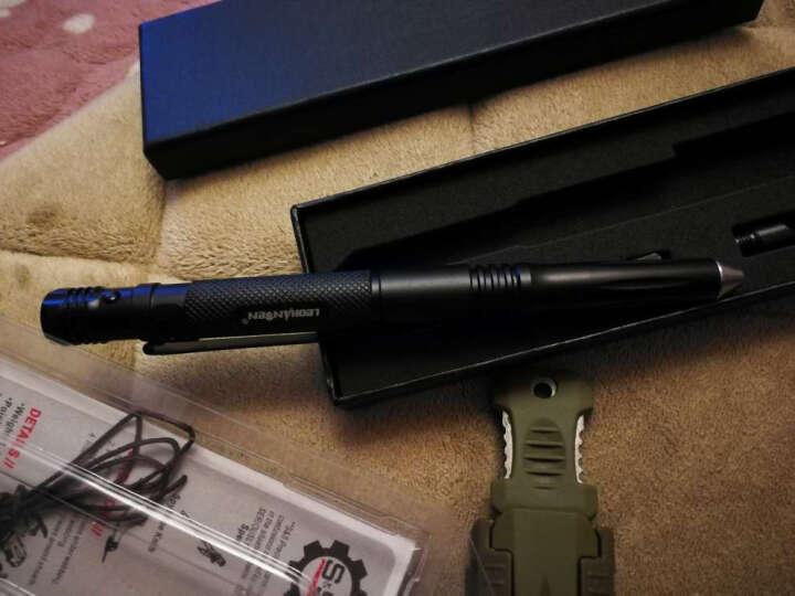 LeOHANSeN 多功能防身战术笔带高亮度LED灯钨钢防卫笔带刀女性防狼器 深邃黑 晒单图
