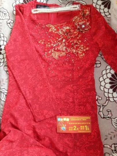 春秋中年大码气质连衣裙结婚礼服妈妈装旗袍裙高贵喜婆婆婚宴装夏 款一红色立领长袖袖 6238 M 拍下送珍珠项链 晒单图