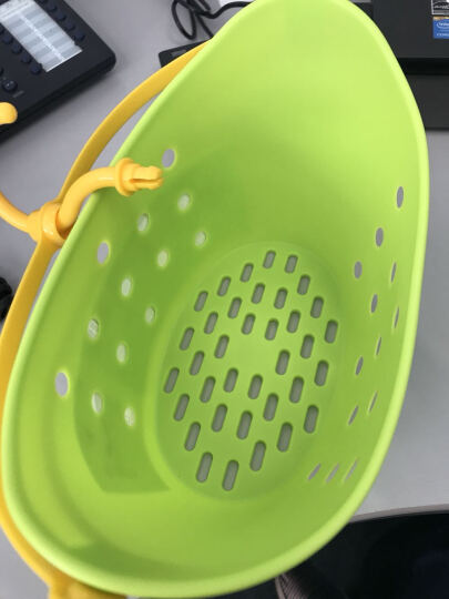 Inomata日本进口挂篮洗澡篮夹子收纳筐浴室化妆品收纳篮 床头饰物存放篮 绿色 晒单图