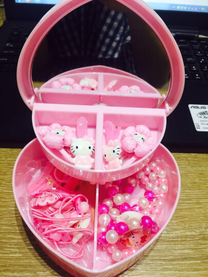 玛诗提娜 儿童首饰盒公主玩具 小女孩手链项链发饰套装 生日礼品儿童节礼物 爱心盒Hello kitty系列 晒单图