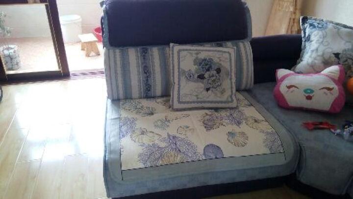 富居(FOOJO)夏季冰丝印花沙发坐垫单人位靠背巾 海边贝壳 90*90cm 晒单图