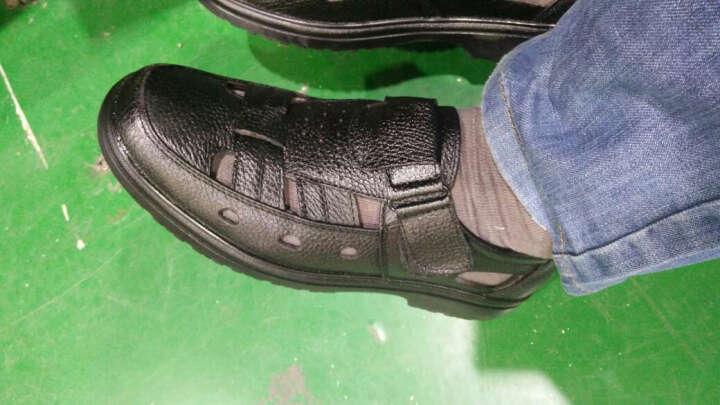 NISIT 新款夏季凉鞋男 时尚镂空包头男鞋厚底沙滩鞋男士洞洞鞋商务休闲凉皮鞋男 黑色 39 晒单图